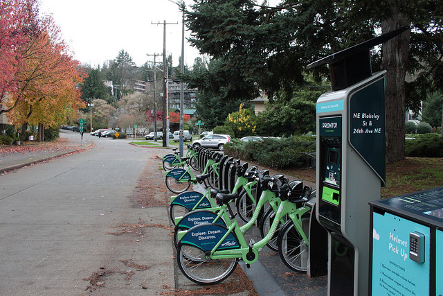 A Pronto station at the Burke Gilman Trail near U Village.